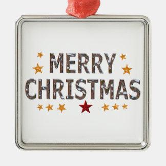 Merry Christmas Chrome Square Metal Christmas Ornament