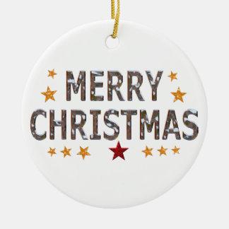 Merry Christmas Chrome Round Christmas Ornament