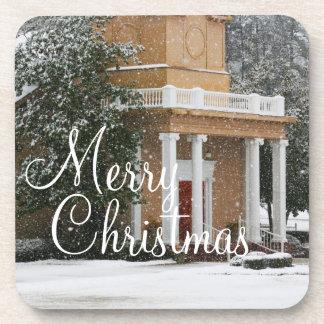 Merry Christmas Church Snowfall Table Coasters