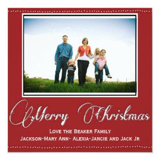 "Merry Christmas Classic Photo Card 5.25"" Square Invitation Card"