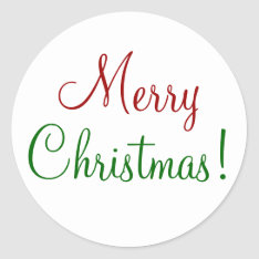 Merry Christmas Classic Round Sticker at Zazzle