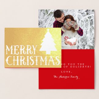 Merry Christmas Classic Tree Photo Theme Foil Card