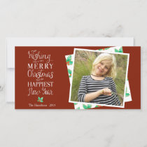 Merry Christmas Classy Lettered Holiday Photocard