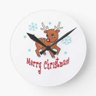MERRY CHRISTMAS ROUND WALL CLOCKS
