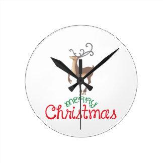 MERRY CHRISTMAS ROUND WALLCLOCK