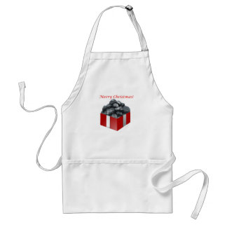 Merry Christmas Coal Present Adult Apron