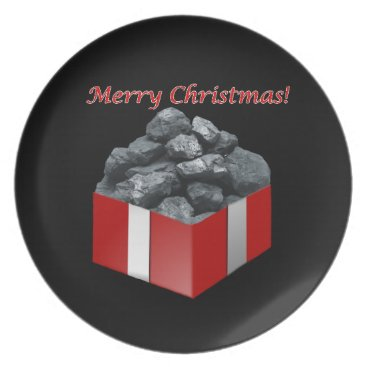 Christmas Themed Merry Christmas Coal Present Dinner Plate