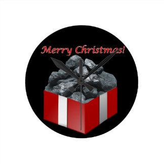 Merry Christmas Coal Present Round Clock