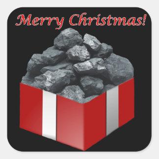 Merry Christmas Coal Present Square Sticker