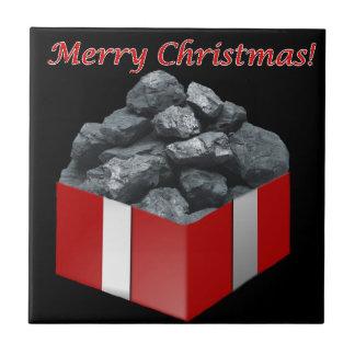 Merry Christmas Coal Present Tile