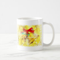 art, illustration, xms, christmas, merry-christmas, happy-holiday, gold, bell, graphic, design, snow, winter, card, christianity, funny, holiday-cards, christmas-cards, Caneca com design gráfico personalizado