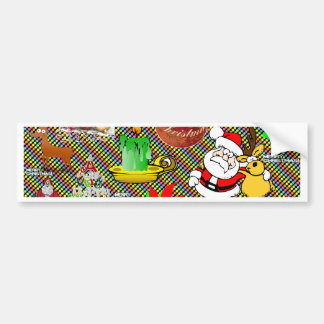 Merry Christmas Collage Car Bumper Sticker