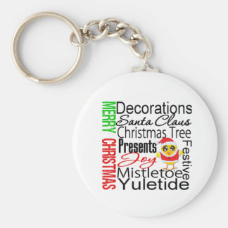 Merry Christmas Collage Chick Keychains