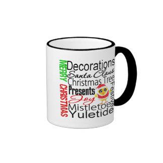 Merry Christmas Collage Chick Ringer Coffee Mug