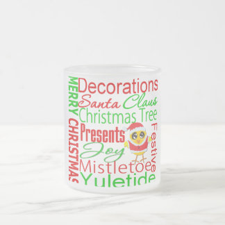 Merry Christmas Collage Chick V2 10 Oz Frosted Glass Coffee Mug