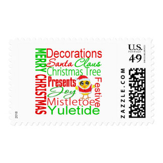 Merry Christmas Collage Chick V2 Postage Stamp