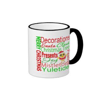 Merry Christmas Collage Chick V2 Ringer Coffee Mug
