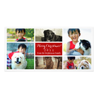 Merry Christmas Collage Six Family Pics Photo Card