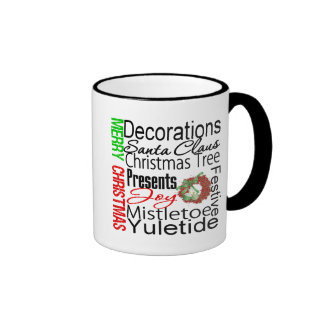 Merry Christmas Collage Wreath Coffee Mugs