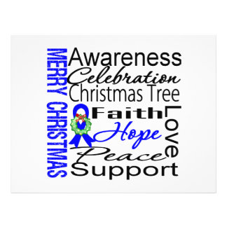 """Merry Christmas Colon Cancer Ribbon Collage 8.5"""" X 11"""" Flyer"""