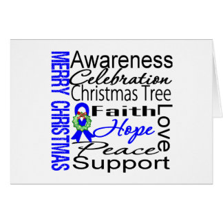 Merry Christmas Colon Cancer Ribbon Collage Greeting Card