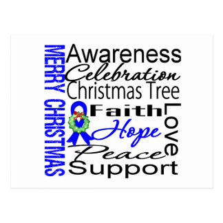Merry Christmas Colon Cancer Ribbon Collage Postcard