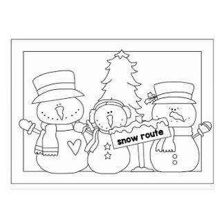 Merry Christmas color me card (snowmen)