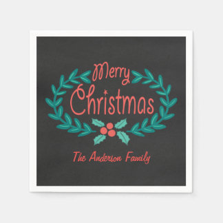 MERRY CHRISTMAS COLORFUL CHALKBOARD WREATH PAPER NAPKIN