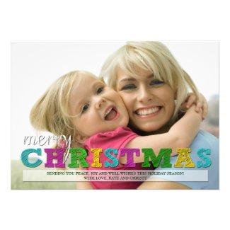 Merry Christmas Colorful Christmas Photo Card