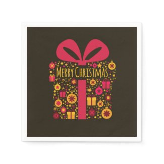 Merry Christmas colorful Christmas present Disposable Napkins