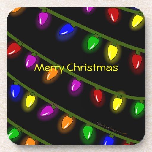 Merry Christmas Colorful Lights Custom Coaster Set