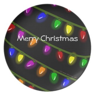 Merry Christmas Colorful LightsCustom Dinner Plate