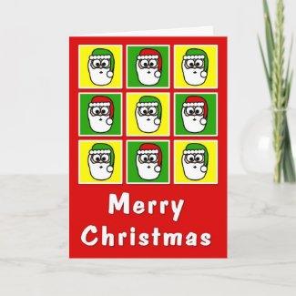 Merry Christmas Colorful Santas Greeting Cards