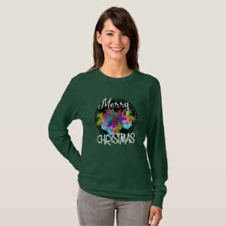 Merry Christmas Colorful Succulent Floral Xmas T-Shirt