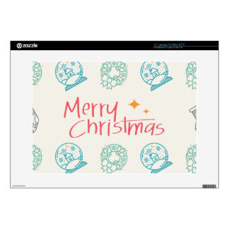 "Merry Christmas Colorful Symbols Seamless Pattern 15"" Laptop Skin"