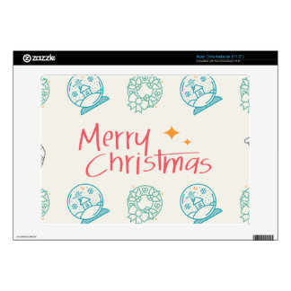 Merry Christmas Colorful Symbols Seamless Pattern Acer Chromebook Skin