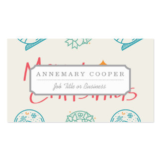Merry Christmas Colorful Symbols Seamless Pattern Business Card