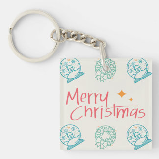 Merry Christmas Colorful Symbols Seamless Pattern Keychain