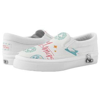 Merry Christmas Colorful Symbols Seamless Pattern Slip-On Sneakers