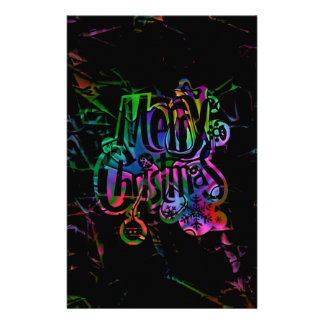 merry christmas colorful text stationery