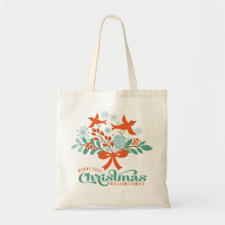 Merry Christmas Colorful Wreath Birds Budget Tote Bag