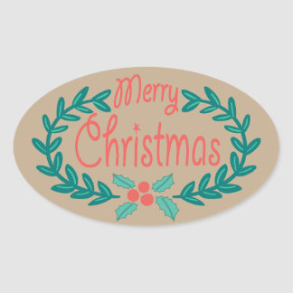 MERRY CHRISTMAS COLORFUL WREATH KRAFT PAPER OVAL STICKER