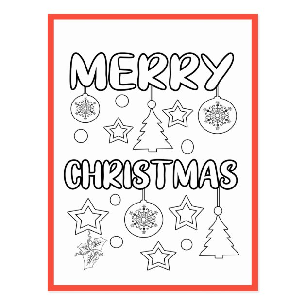 - Merry Christmas Coloring Page Activity Cards Zazzle.com