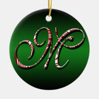 Merry Christmas Colors Green Red White Letter M Ceramic Ornament