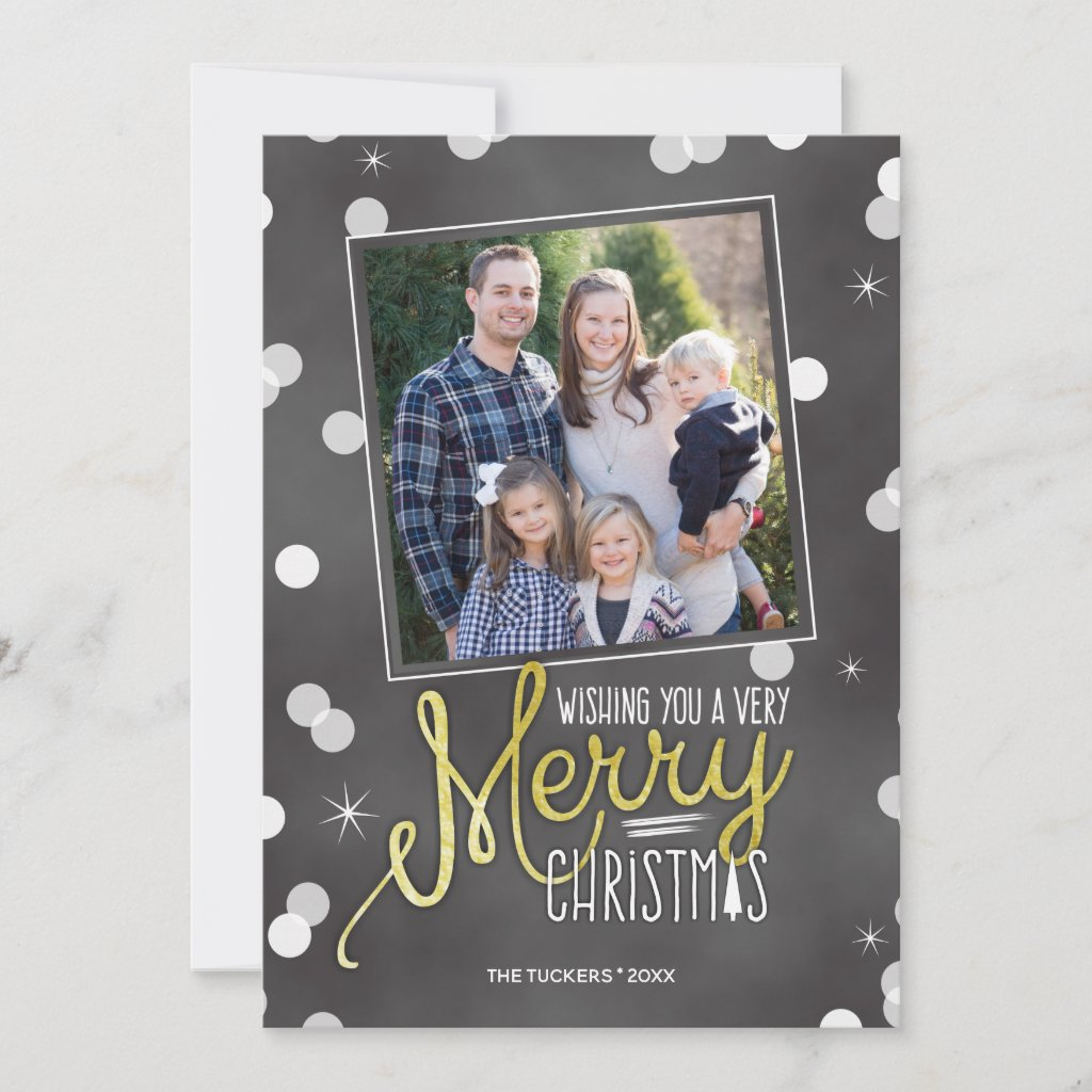 Merry Christmas Confetti on Chalkboard Holiday Card