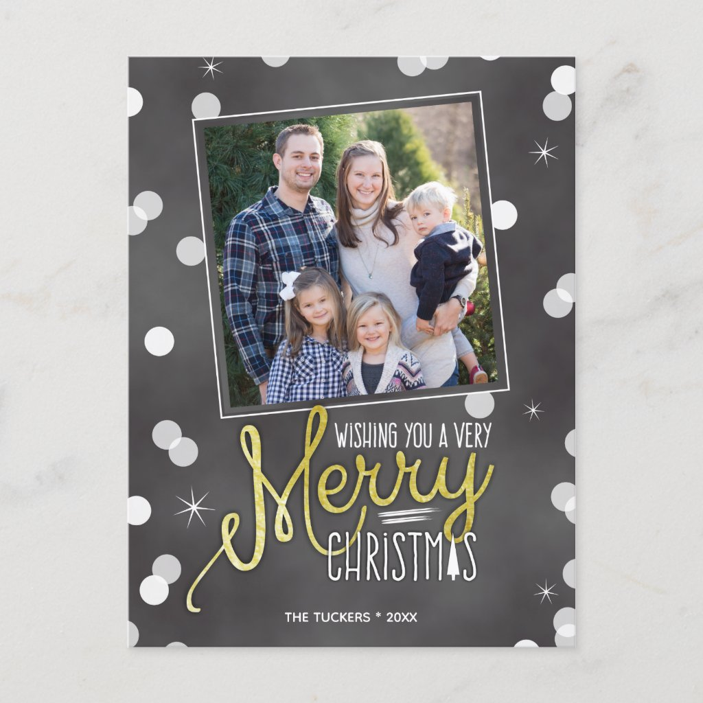 Merry Christmas Confetti on Chalkboard Holiday Postcard