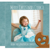 Merry Christmas Cookie Square Holiday Photo Card