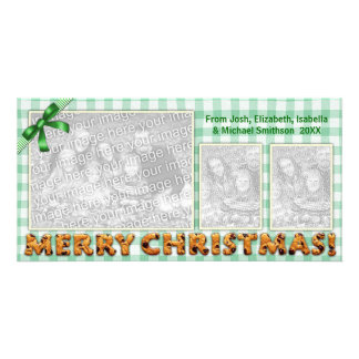 Merry Christmas Cookies Plaid Tablecloth All Green Card