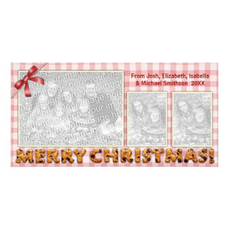 Merry Christmas Cookies Plaid Tablecloth All Red Card