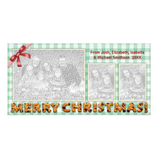 Merry Christmas Cookies Plaid Tablecloth Card